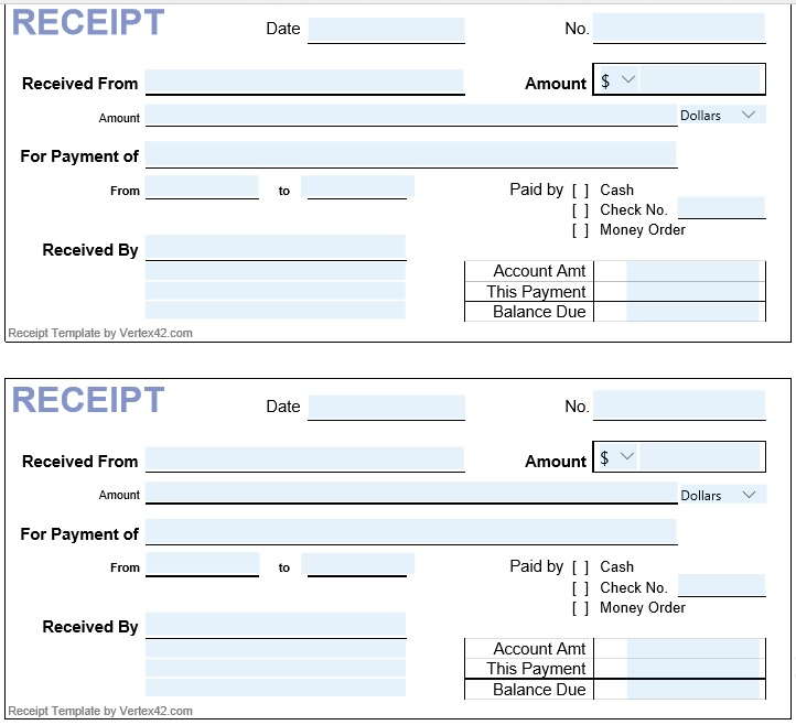 12 Free Cash Receipt Templates