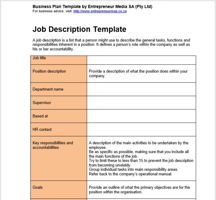 Position Description Template from www.word-templates.com