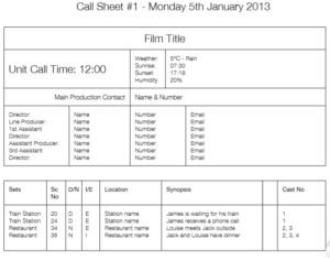 call sheet template 06