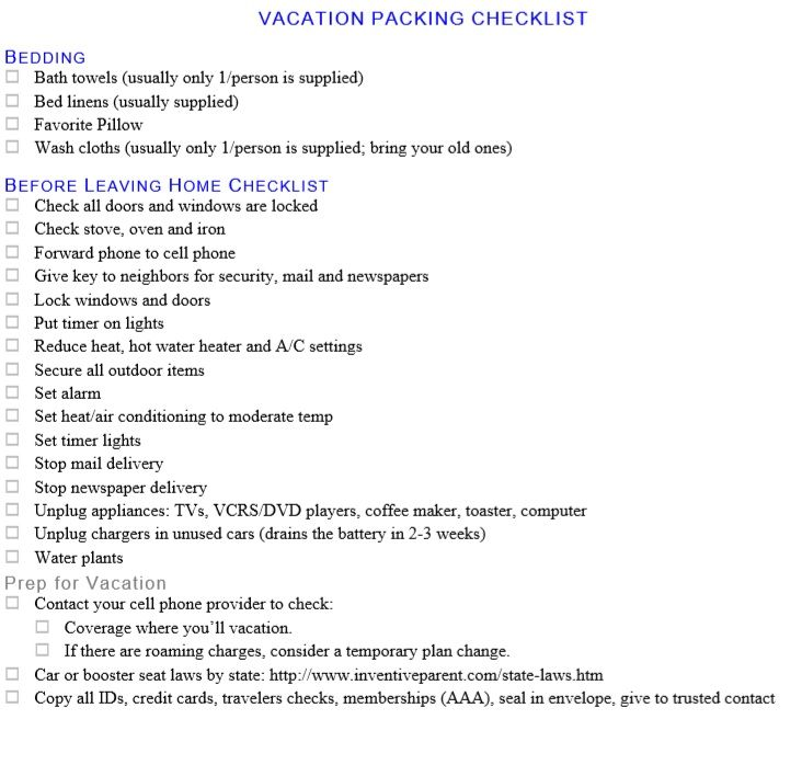 Packing List Template 11