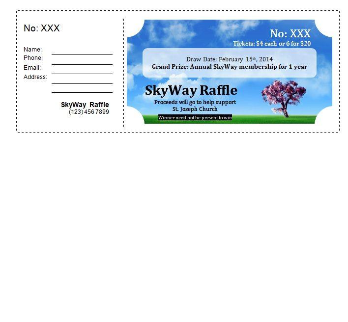 Blue Raffle Ticket Template