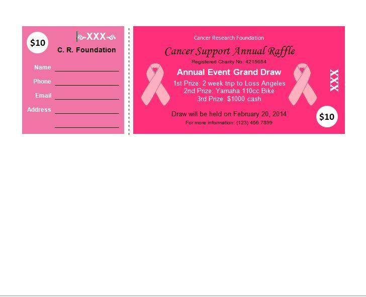 Charity Raffle Ticket Template