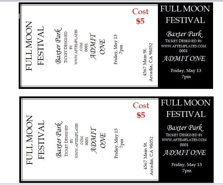 Festival Raffle Ticket Template