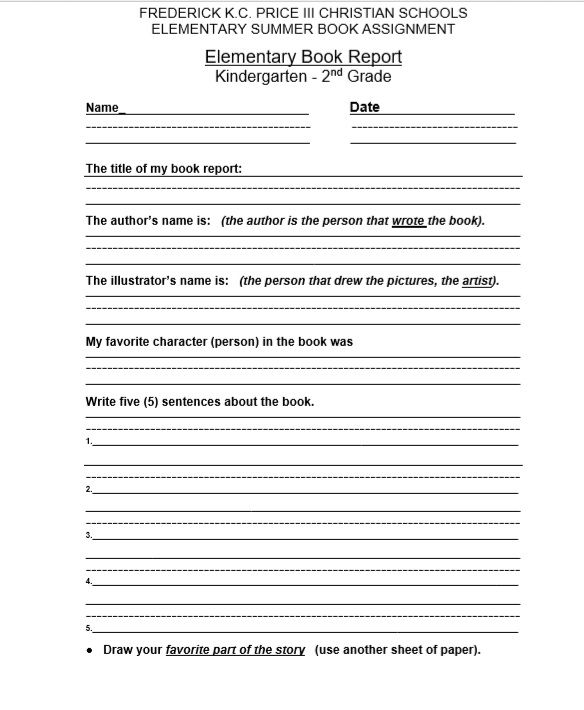 Book Report Template 01