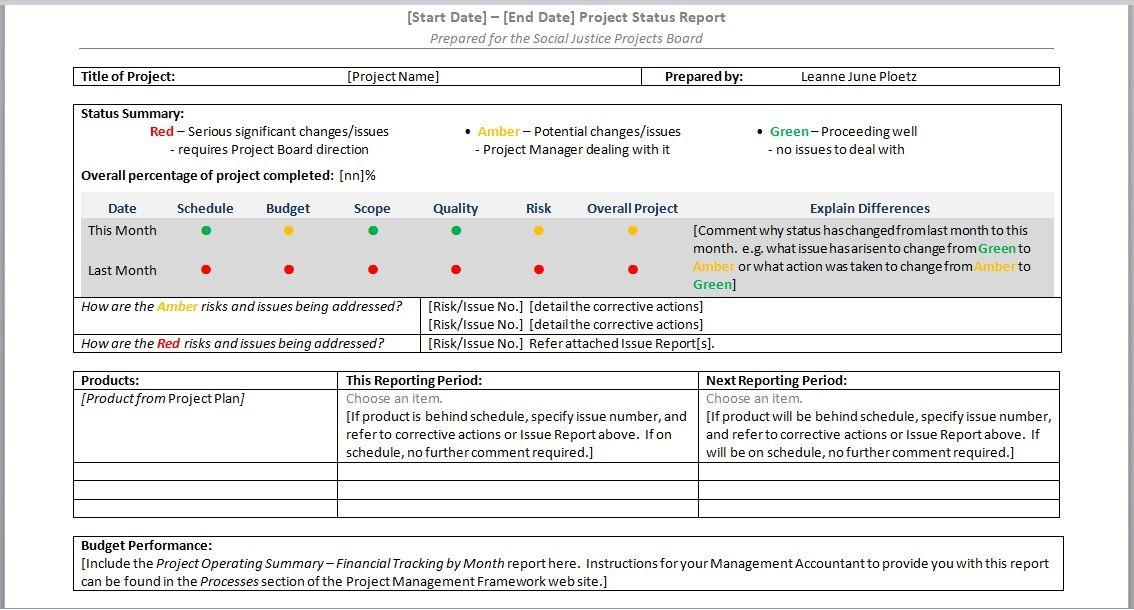 Project Progress Report Templates