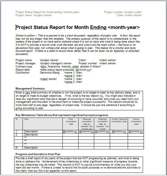 Project Progress Report Template 04