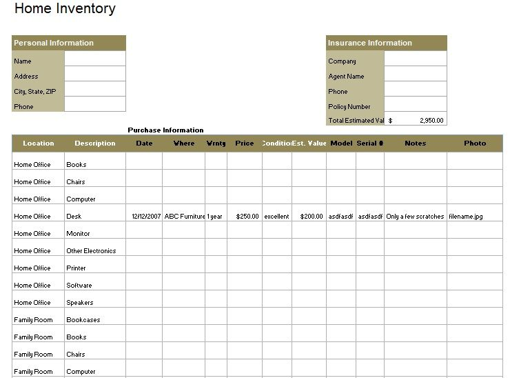 Inventory List Template 01