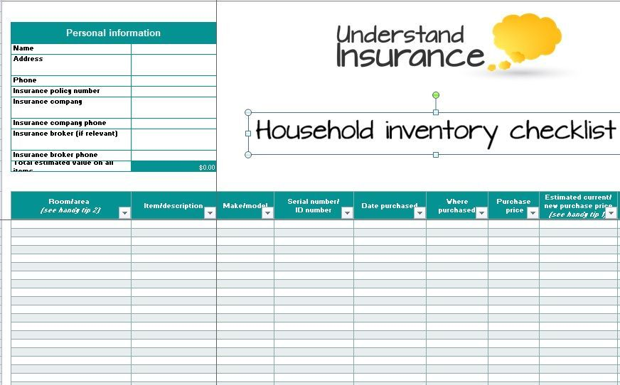 Inventory List Template 08