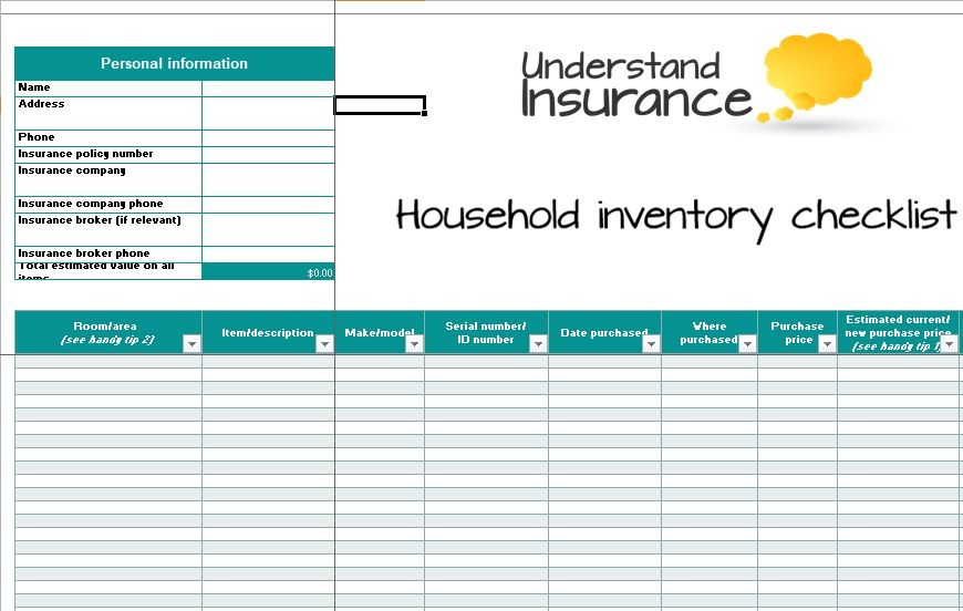 Inventory List Template 10