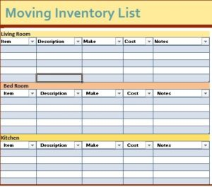 Inventory List Templates