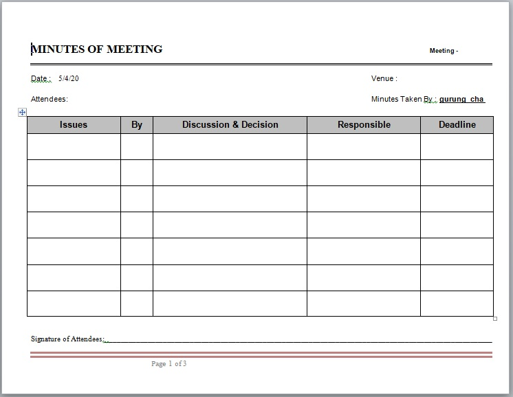 Meeting Minutes Template 02