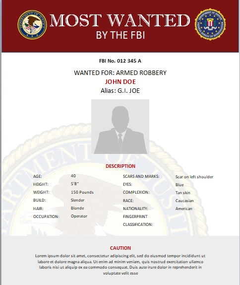Fbi Most Wanted Poster Template from www.word-templates.com