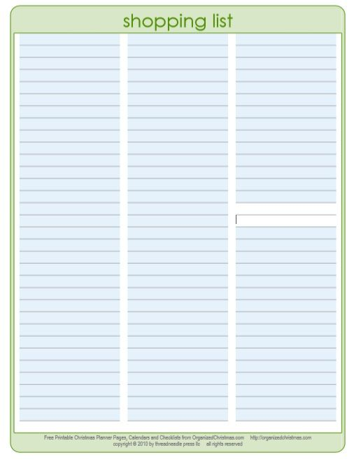 20 Free Shopping List Templates
