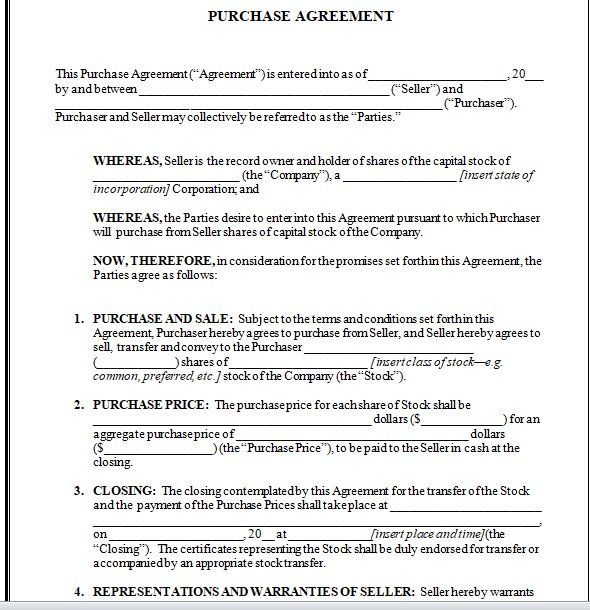 Purchase Agreement Template 05