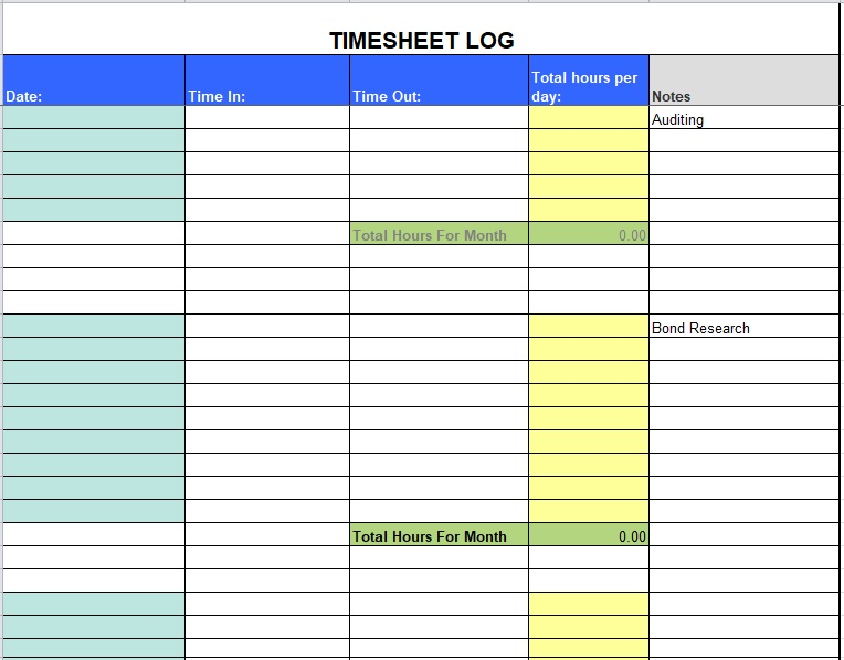 Time Sheet Template 04