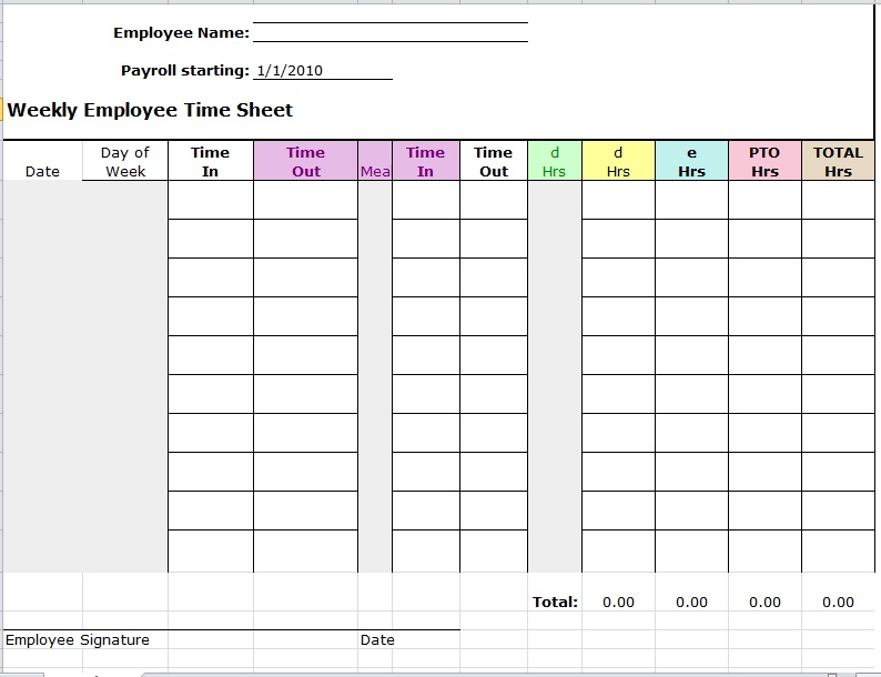 Time Sheet Template 05