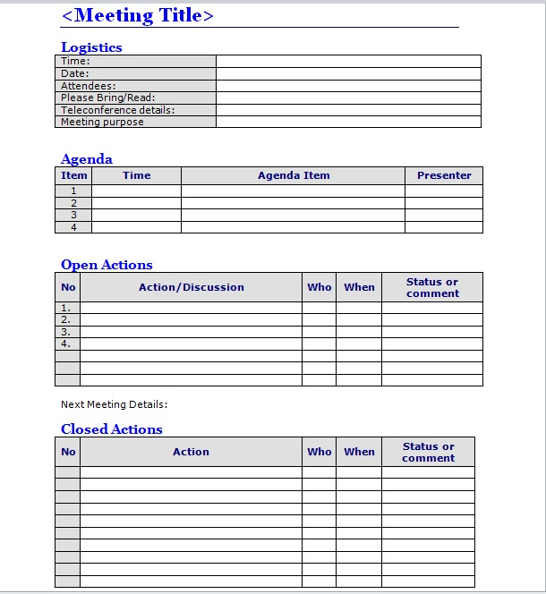 Business Meeting Minutes Template 03