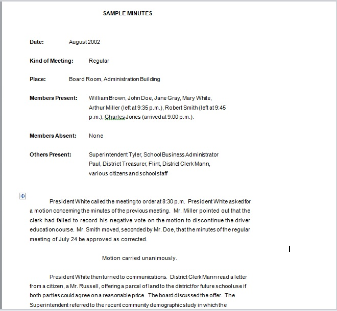 Business Meeting Minutes Template 11