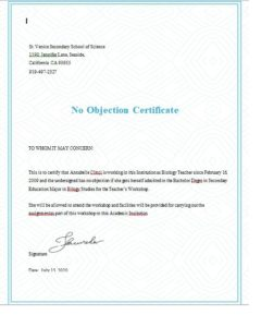 No objection certificate template 06