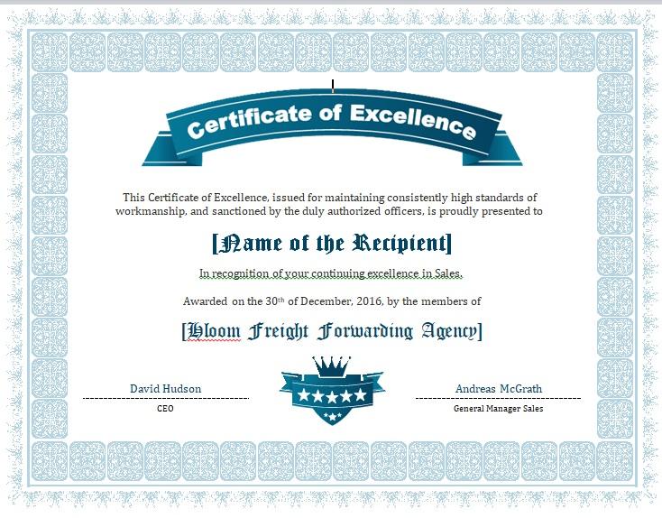 Certificate of Achievement Template 03