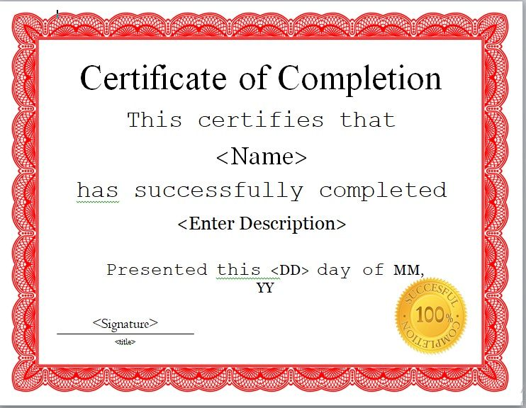 Certificate of Completion Template 06