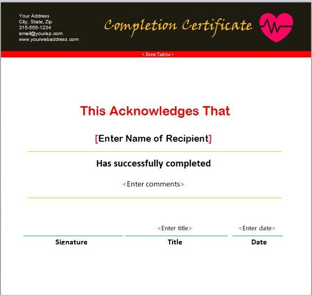 Certificate of Completion Template 09