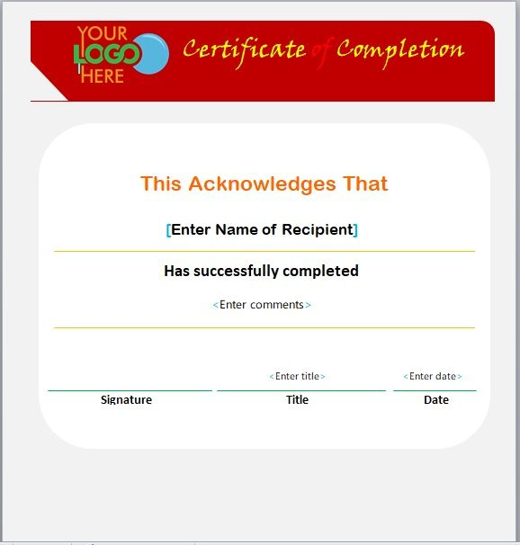 Certificate of Completion Template 10