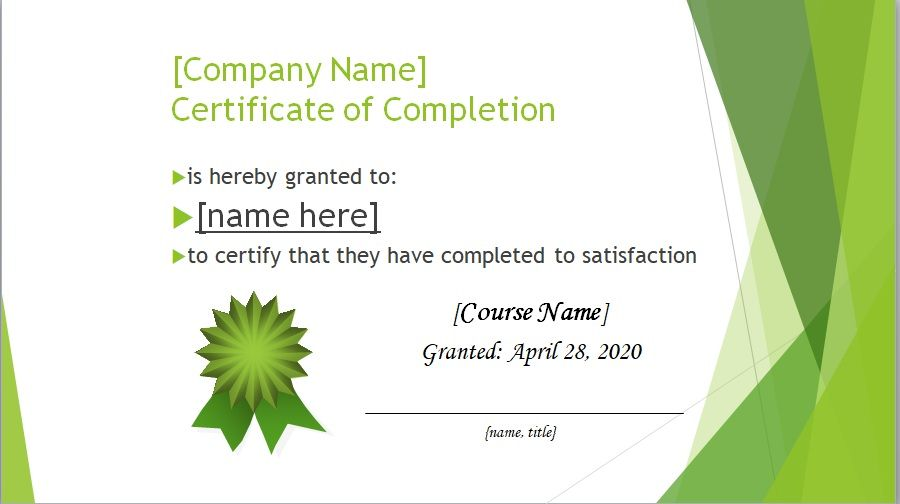 Certificate of Completion Template 18