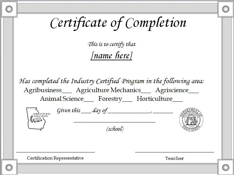 Certificate of Completion Template 19