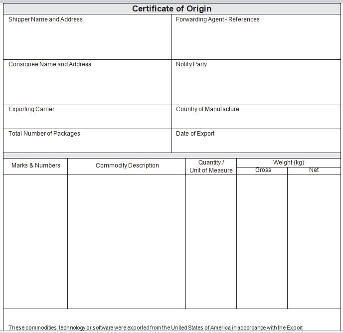 Blank Certificate Of Origin Template from www.word-templates.com