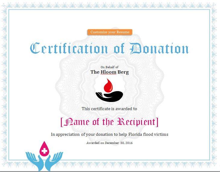 Donation Certificate Template 05