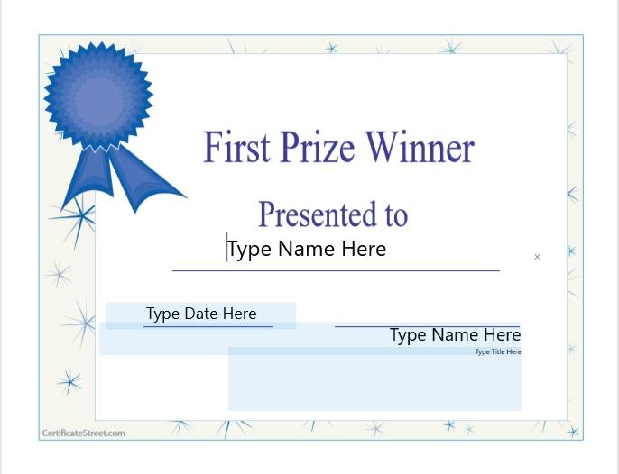 Second Prize Certificate Template 02