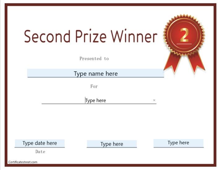 Second Prize Certificate Template 05