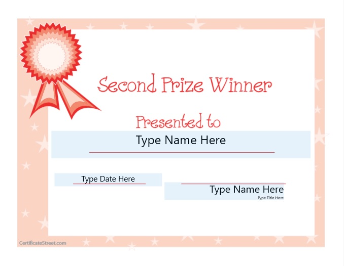 Second Prize Certificate Template 08