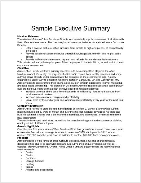 Executive Summary Template 18