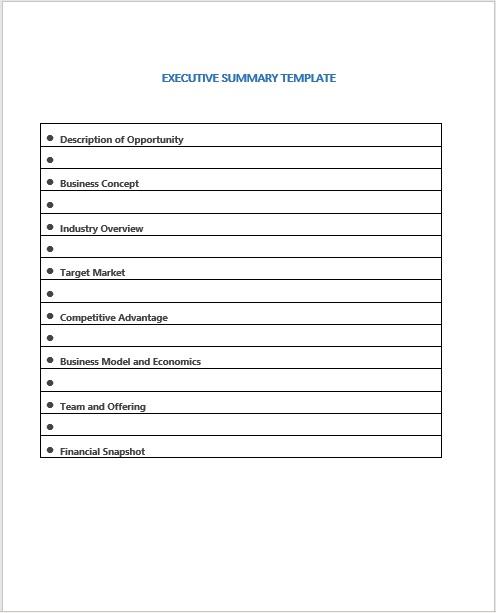 Executive Summary Template 19