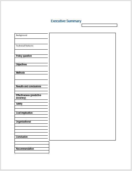 Executive Summary Template 20