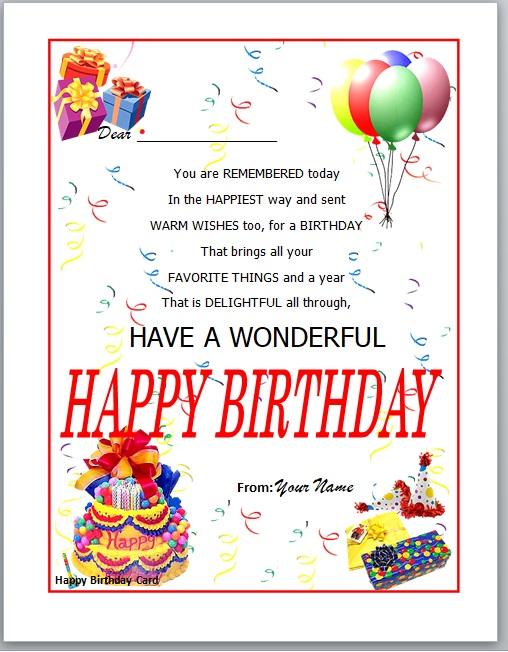 Birthday Card Template 10