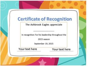 Certificate of Recognition Template 03