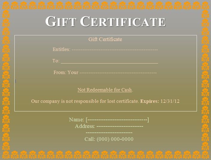 Gift Certificate Template 11