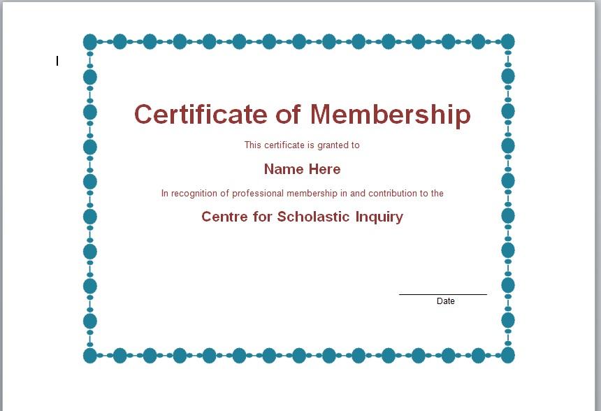 Membership Certificate Template 06