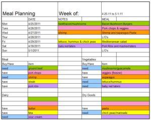 Menu planner template 04