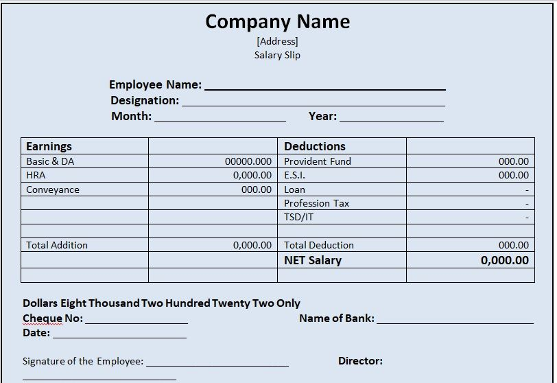 Salary Slip Template 06