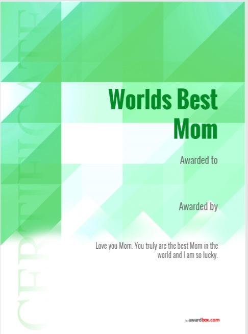 Certificate of Best Mother Template 02