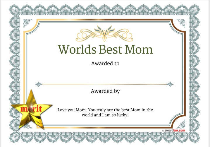 Certificate of Best Mother Template 05