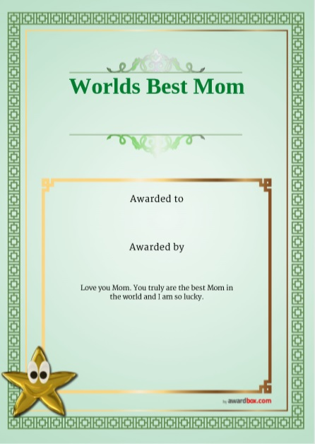 Certificate of Best Mother Template 08