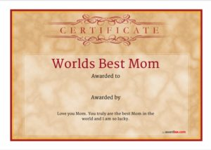 certificate of best mother template 09