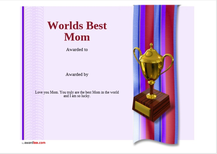 Certificate of Best Mother Template 10