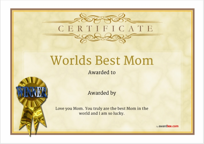 Certificate of Best Mother Template 12