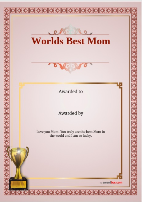 Certificate of Best Mother Template 13